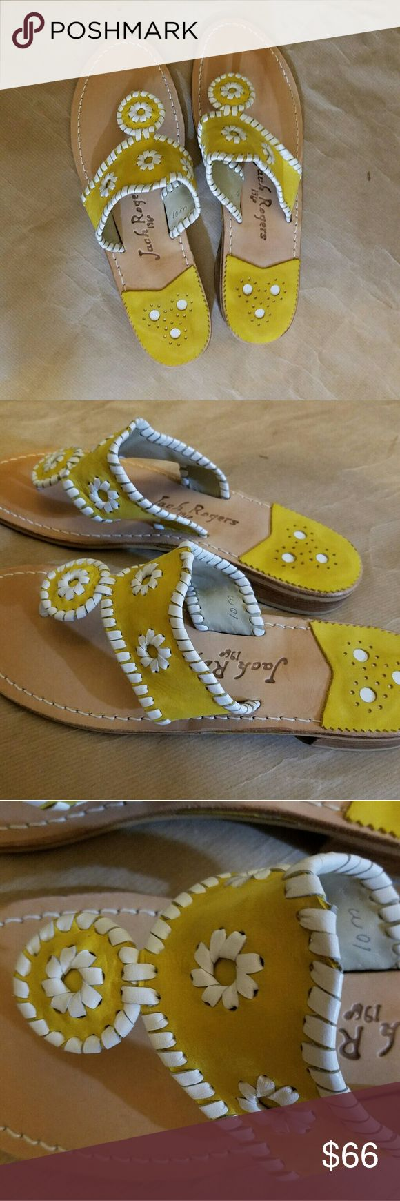 Jack Rogers size 10 Jack Rogers Navajo Sandals Yellow White size 10 NWOB Jack Rogers Shoes