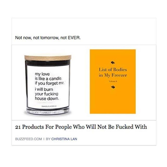 """THUG LIFE   That time Dfly was #1 on the list of """"Products for people who will not be f@cked with"""".... Via @buzzfeed  Not now, not tomorrow, not ever ✖️ #thuglife #myloveislikeacandle #damselflyofficial #quotecandle #originalquotecandle #flydamselfly"""