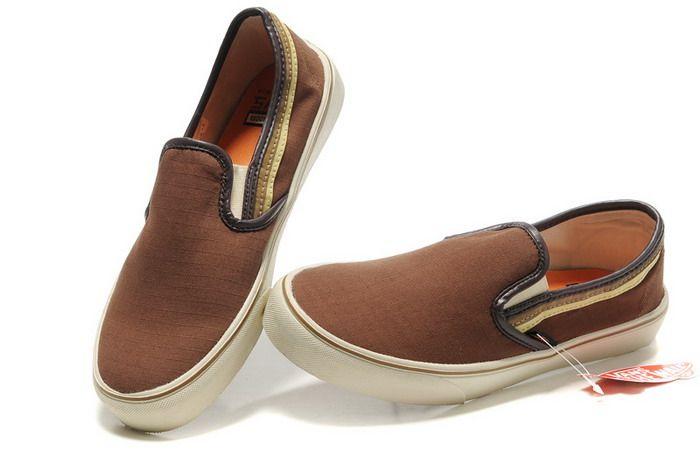 Brown VANS Chambray Slip-On Shoes Sale Online | Vans shoes ...