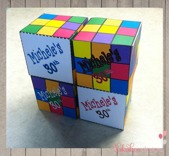 Personalized 80s Rubiks Cube DIY Printable by KikabooDesigns, $3.50