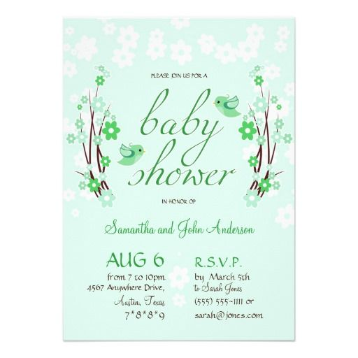 Flowers & Birds Baby Shower Modern Floral Green Invitation - Customizable