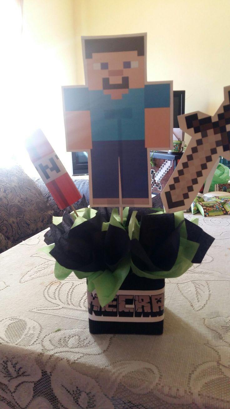 Centro de mesa Minecraft.