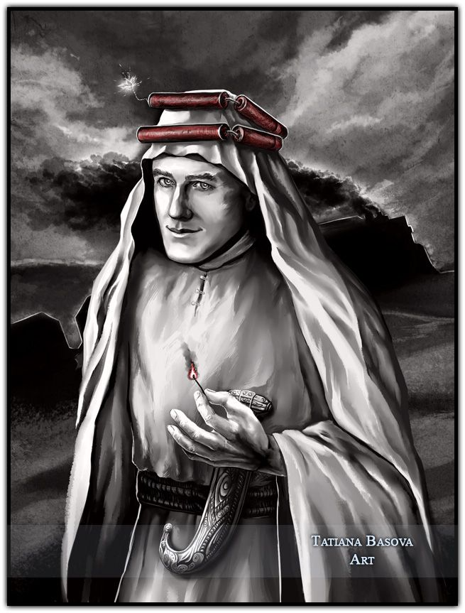 T.E. Lawrence Art print & Painting. T. E. Lawrence was nicknamed by Bedouin tribes Emir (Prince) Dynamite.