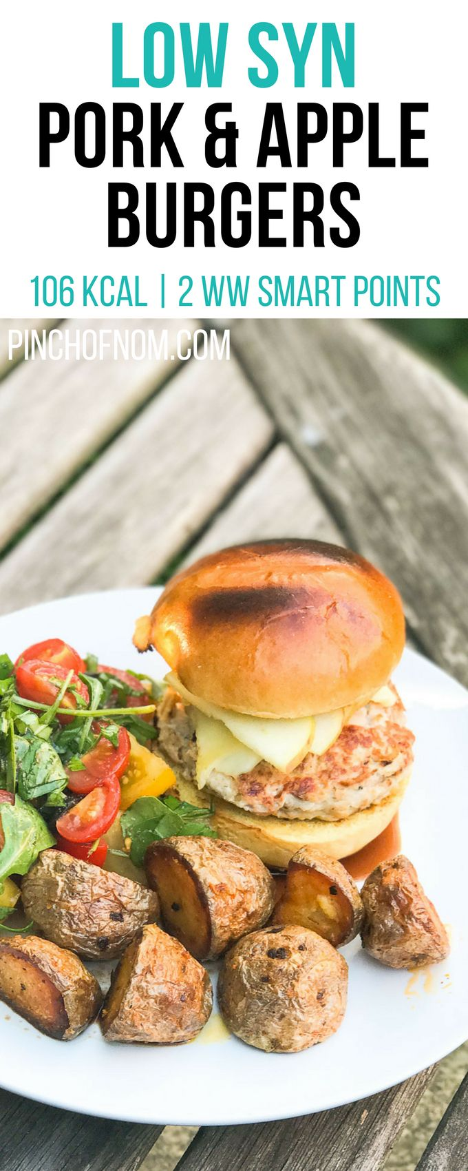 Low Syn Pork and Apple Burgers | Pinch Of Nom Slimming World Recipes     106 kcal | 0.5 Syn | 2 Weight Watchers Smart Points