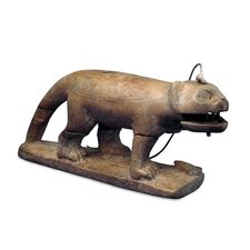 Kinetic Art. From 1500 BC! (It's a wooden cat toy from Egypt. Pull the lever and the mouth moves).