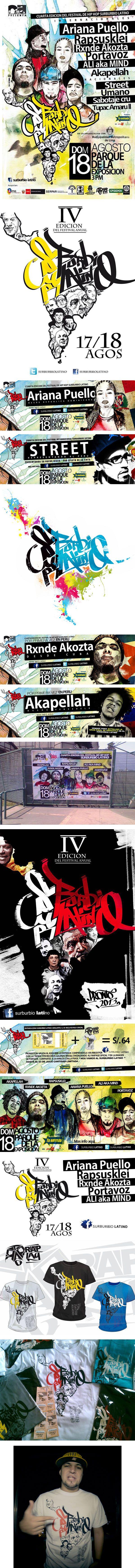 Festival de Hip Hop Suburbio Latino. Elijo este sistema porque me gusta el tratamiento gráfico, me gusta el lenguaje que lograron, combinando dibujo gestual, fotografía monocromática, acuarela y una tipografía de palo seco. Se puede ver la cultura hip-hop en las piezas. Sólo veo, a mi parecer, que en unas piezas no encajan unos textos con tipografía serif. http://www.limacultura.pe/promocion/noticias/2013-08-05/festival-internacional-de-hip-hop-surburbio-latino