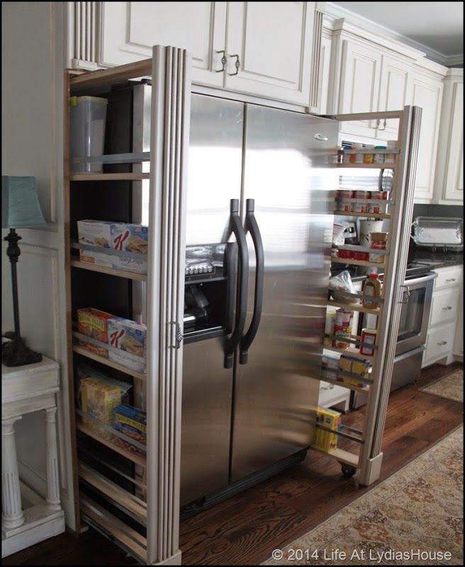 If we could do this tastefully, it'd be nice to get a tiny more storage out of the small amount of space I'll have next to the refrigerator.  We don't do many canned goods, but I'm sure I could figure out what to put there!