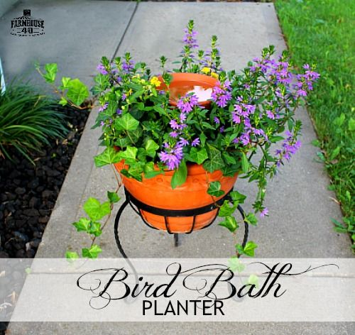 DIY Bird Bath Planter - Details at Lou Lou Girls on my contributor post. #diygardening #diyblogger #diyprojects