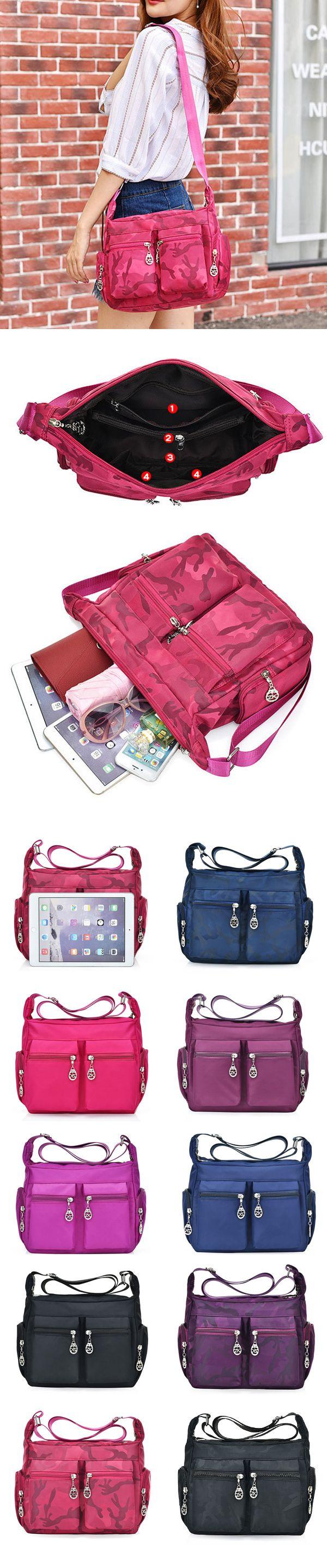 [$ 15.36]   Multi-pockets Nylon Waterproof Outdoor Crossbody Bag Shoulder Bag For Women
