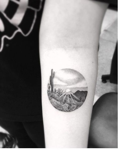 by Dr woo  tattoo / cactus / sun / landscape                                                                                                                                                     Mehr