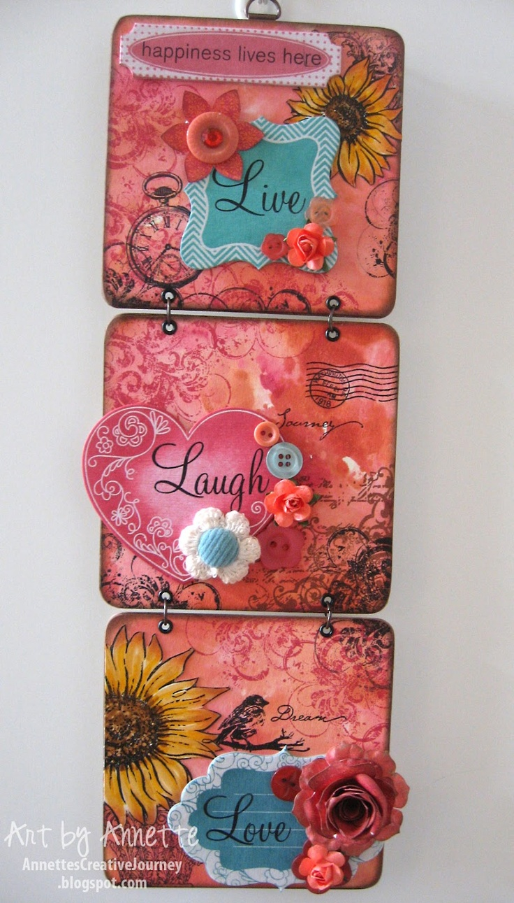 Annette's Creative Journey: Coaster Wall Hanging - Live. Laugh. Love.