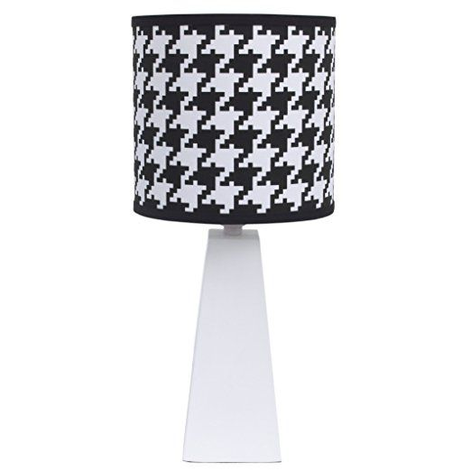 Roar Black And White Lamp Base And Hounds Tooth Shade By NoJo