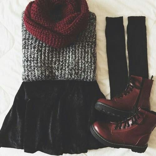 autumn, autumn clothes, boots, burgundy, fashion, grunge, indie, outfit, outfits, scarf, skirt, First Set on Favim.com, First set