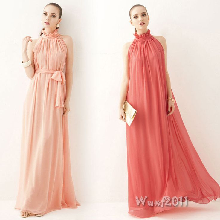 Noble Women Sleeveless Peplum Ruffle Boho Chiffon Evening Party Long Maxi Dress #Unbranded #Tunic #Formal