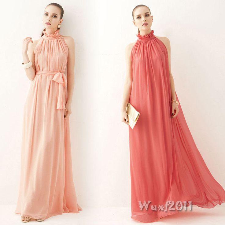 Noble Women Sleeveless Peplum Ruffle Boho Chiffon Evening Party Long Maxi Dress #Unbranded #Tunic #Formal