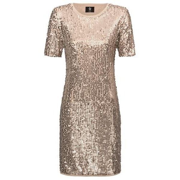 Paillettenkleid, kurzer Arm, gold, perfekt!