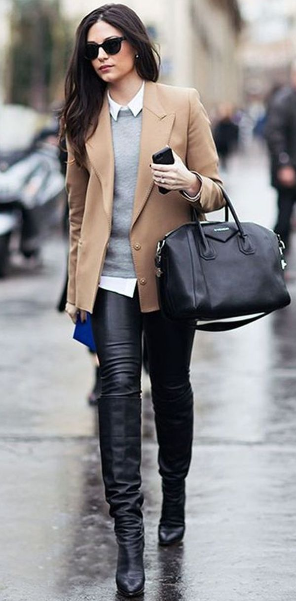 Love the combo of camel, gray and black.