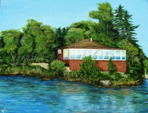 'Carrick Cabin' by Natasha Lowenthal, Lakefront painting, Canadian Whiteshell, fine art
