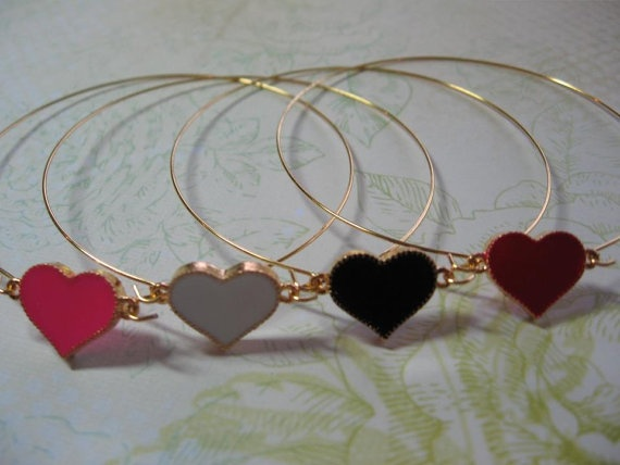 Enamel Heart Bangle by DirtyBirdJewellery on Etsy, $20.00