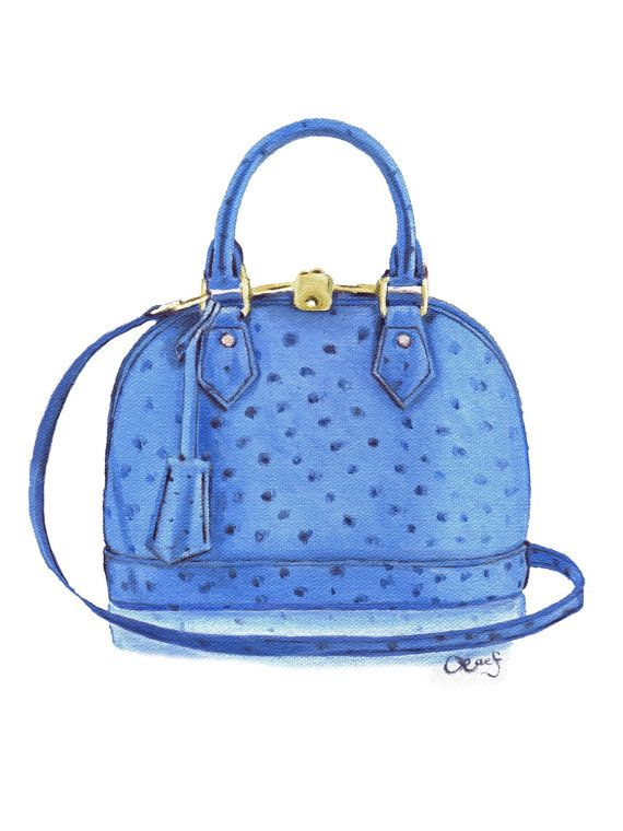 Oil painting of Louis Vuitton Alma Bb in Sapphire by LauraFungArt