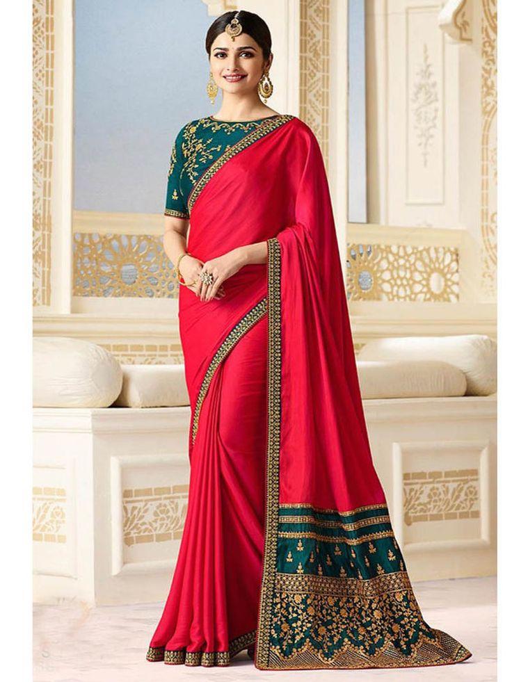 Indian Designer New Bordar work Glamorous Party wear Silk Blend Sari Blouse #Handmade #Saree