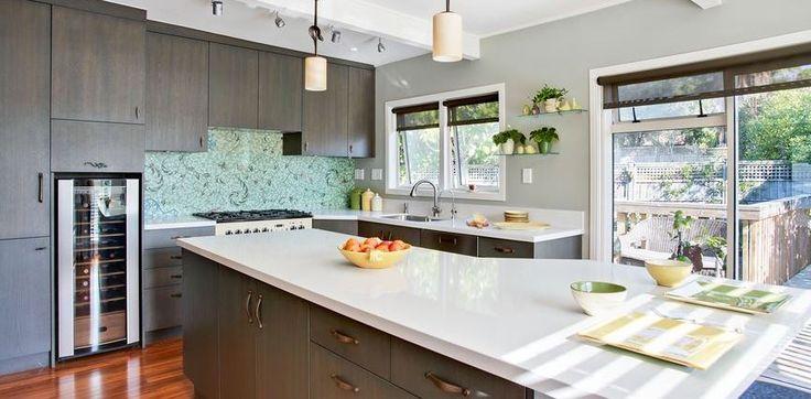 my kitchen with custom mosaic splash back