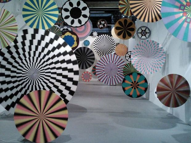 Ara Peterson and Jim Drain have created a series of hypnotic spinning fan-activated pinwheels mounted at different heights and depths. This segment of the exhibition pleasantly seems to slow things down and makes you feel as if you've stumbled into the control room at the Wonka Factory.