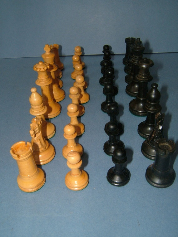 Quality 1930s Set of Weighted Wooden Staunton by BiminiCricket, $85.00