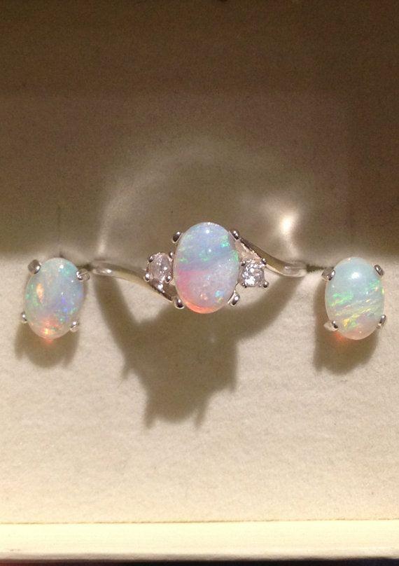Australian Opal Jewelry Set - Opal Ring - Opal Stud Earrings - Silver Opal Ring with White Zircons - CUSTOM on Etsy, $239.00