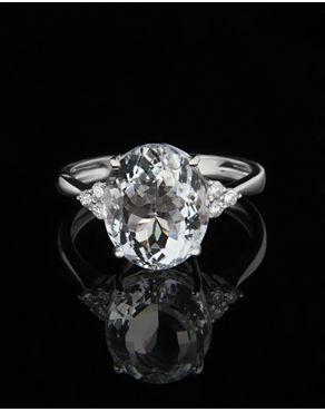 Δαχτυλίδι λευκόχρυσο με Aqua marina & Διαμάντια