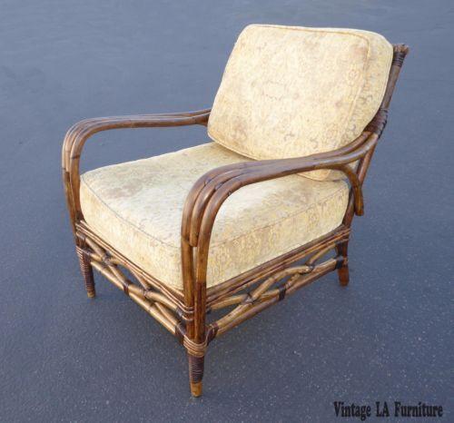 Старинные Тики Палм Бич Ротанг бамбук стиль бежевая бархатная акцент кресло   eBay