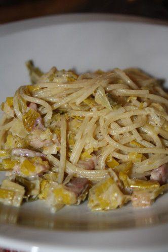 Voilà une recette que je fais souvent. Un plat de pâtes simple, rapide, qui a le mérite de changer des éternelles (mais tout aussi bonnes) carbonara ou bolognaises, et qui permet de manger un peu de légumes. Parfait pour un dimanche soir... Ingrédients...