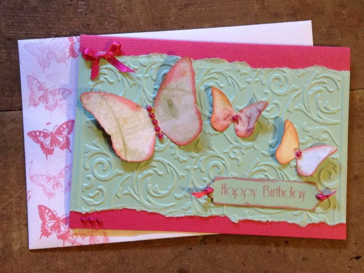 Embossed Butterfly Card, all Kaszazz products. Made by Carolyn Shaw.