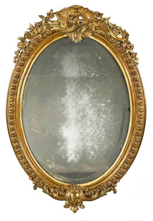Espejo ovalado isabelino con marco en madera tallada y for Espejo ovalado madera