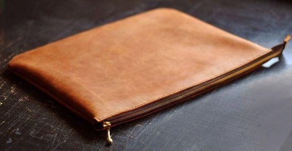 Pochette en cuir, embrayage gingembre, unisexe embrayage, embrayage fait à la main en cuir, C005