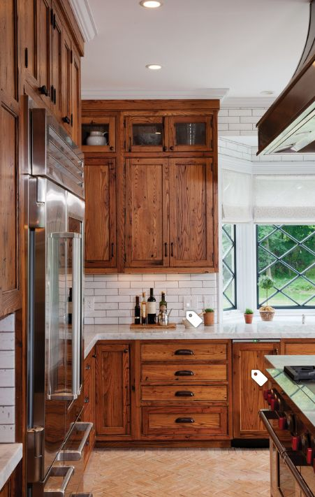 with white subway tile and gray grout   Rustic kitchen ...