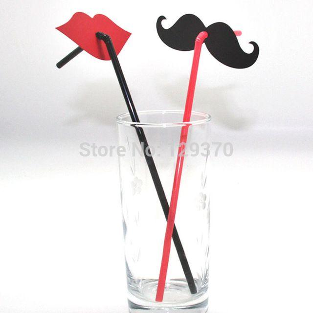 Doprava zdarma Hot Prodej 200ks / LOT Creative Wedding Party Supplies černým plnovousem a červené rty brčka
