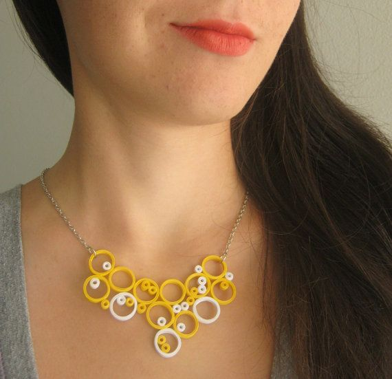 Paper Jewelry, Circle Necklace in yellow and white, paper statement necklace, earthy jewelry, 1st Year  Anniversary Gift Geometric Jewelry