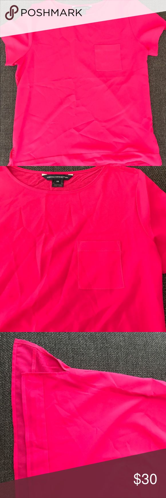 French Connection Dressy T-Shirt Hot pink French Connection shirt with pocket detail and small slit on bottom of each side. Great condition! Also available as bundle with matching skirt French Connection Tops Blouses