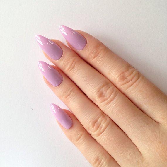 Pastel purple stiletto nails, Nail designs, Nail art, Nails, Stiletto nails, Acrylic nails, Pointy nails, Fake nails, False nails PLEASE