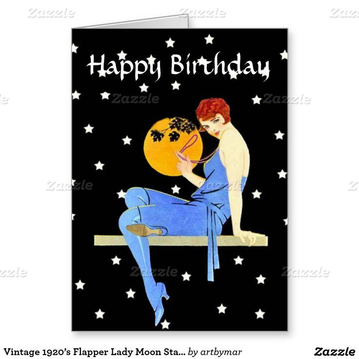Moon Stars Birthdayヴィンテージの20年代のフラッパーの女性 グリーティングカード