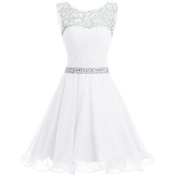 Dresstells Short Chiffon Open Back Prom Dress With Beading Homecoming... ❤ liked on Polyvore featuring dresses, short dresses, white cocktail dresses, short homecoming dresses, beaded prom dresses and short chiffon dress