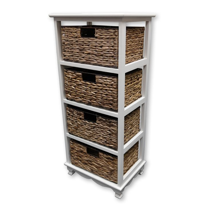 The Awesome Web  Drawer Wicker Chest with White Wooden Frame Household Storage Unit Baskets NEW