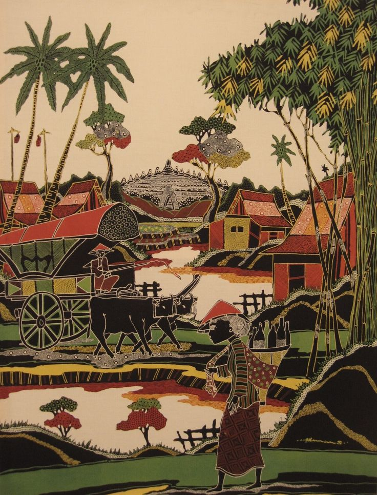 Modern batik painting depicting a landscape with Borobudur, an ox cart and jammu-wife by S. Herman, Indonesia. Museon, CC BY