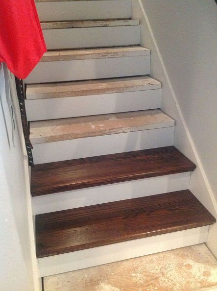 Like this idea for the steps going downstairs to my basement and craft room