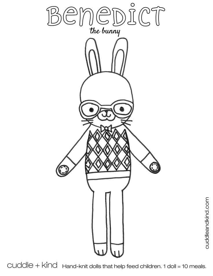 cuddle+kind benedict the bunny colouring sheet. www