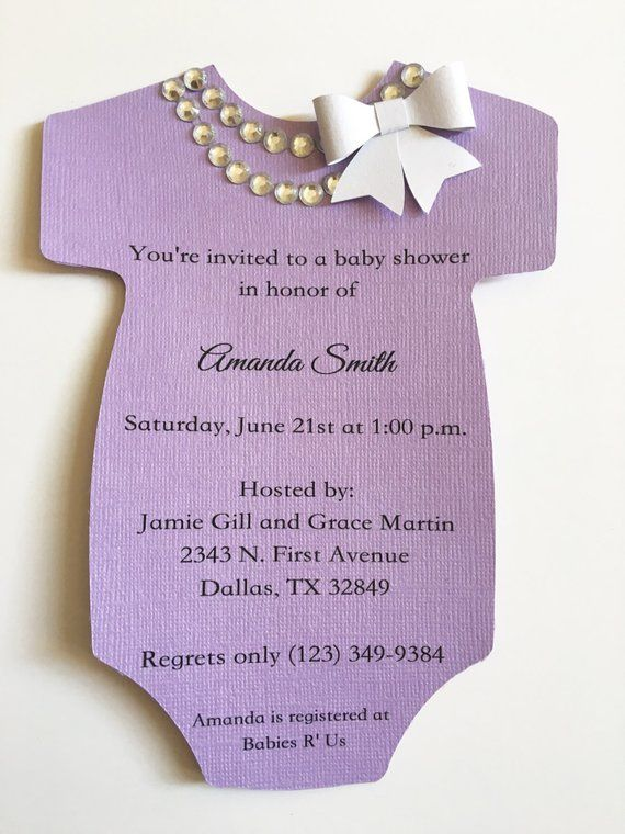 e2ca4ad46 Baby Shower Onesie Invitation with Pearls/Rhinestone Necklace | Etsy ...