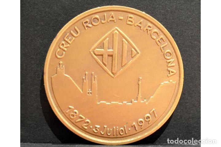 MEDALLA EN BRONCE SOBREDORADO CRUZ ROJA CREU ROJA BARCELONA 125 ANIVERSARIO 1872 1997