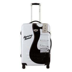 Valise rigide 4 roues Guitare blanc et noir 41 x 60 x 26 cm - 63 L