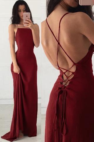 Spaghetti-Trägern Burgund ärmelloses Abendkleid, günstige lange Abendkleider L9527